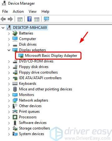 graphics driver shows as microsoft basic display adapter