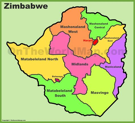 printable map of zimbabwe in africa administrative divisions map of zimbabwe