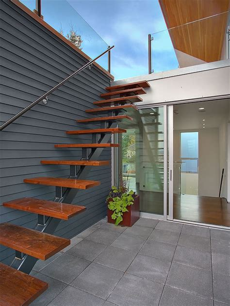 Entry Stairs Design Exterior Stair Accessing Roof Terrace Modern Staircase Seattle By Jim Burton Architects
