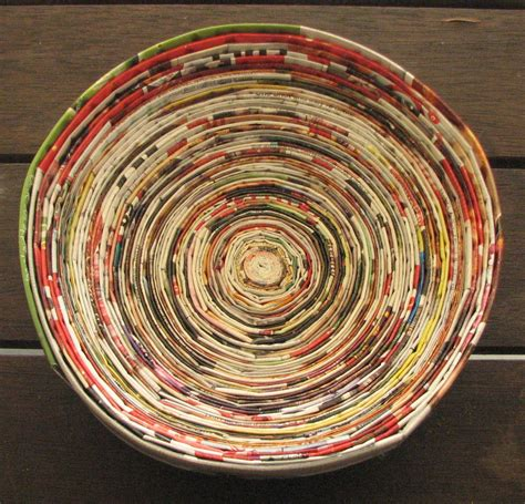 How To Make Paper Bowls From Magazines - magazine crafts recycled paper coiled into a bowl