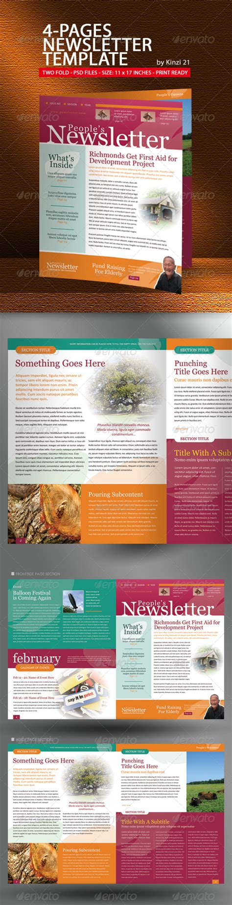 4 Pages Newsletter Template Graphicriver Newsletter Template For Pages