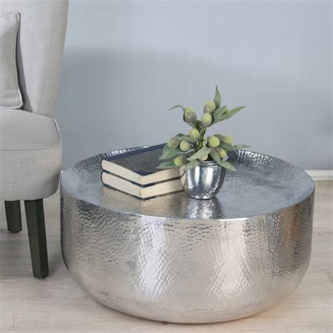 Aluminium Coffee Table Coffee Table Aluminium Polished Hammered Optics Shape