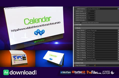 vfx templates after effects free download 3d calendar preset videohive project free download