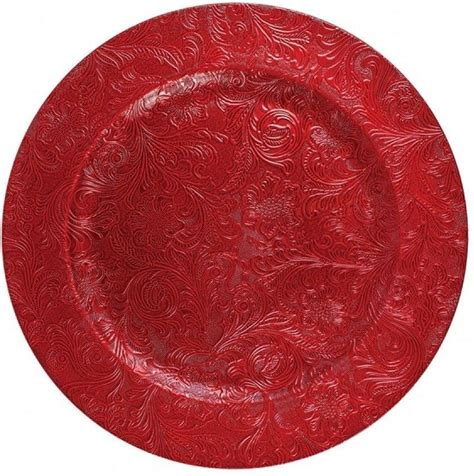 set   embossed red floral design cm red charger