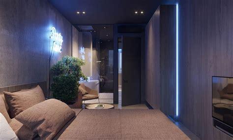 Dark Moody Bachelor Pad Design: 2 Single Bedroom L Shaped