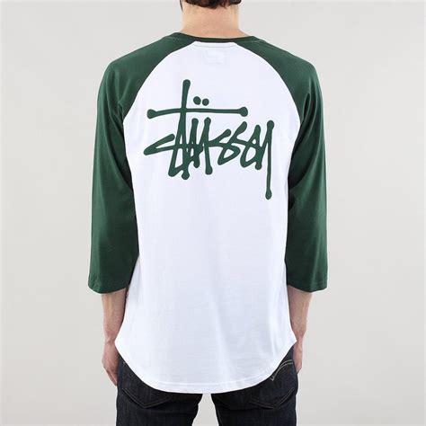 Tshirt Raglan Stussy mens t shirts stussy basic raglan t shirt white raff