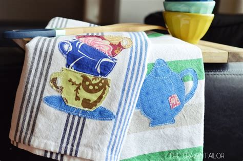 Handmade Towels - half handmade appliqued tea towels peek a boo pages