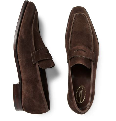 george cleverley loafers lyst george cleverley george suede loafers in brown for
