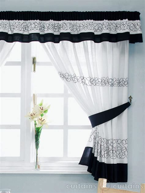 Kitchen Curtains Black And White Retro Black White Embroidered Kitchen Curtain Pelmet Kitchen Accessories Uk