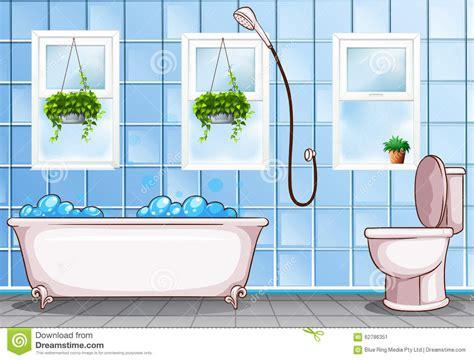badezimmer clipart badezimmer mit badewanne und toilette vektor abbildung