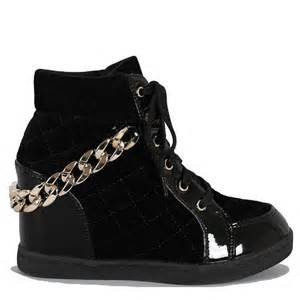 fahrenheit black quilted wedge sneaker shoes