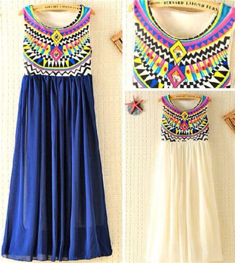 Sephira Maxi dress multi color tribal pattern blue white maxi