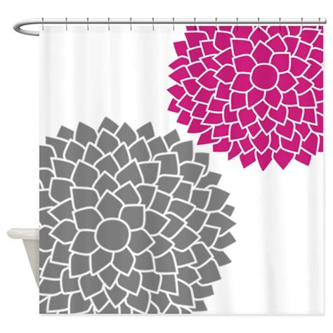 Pink And Gray Shower Curtain by Zen Flowers Gray Pink Shower Curtain By Marshenterprises