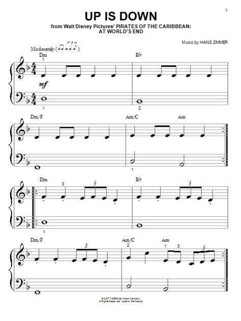 Piano Tutorial Up Is Down | up is down sheet music by hans zimmer piano big notes