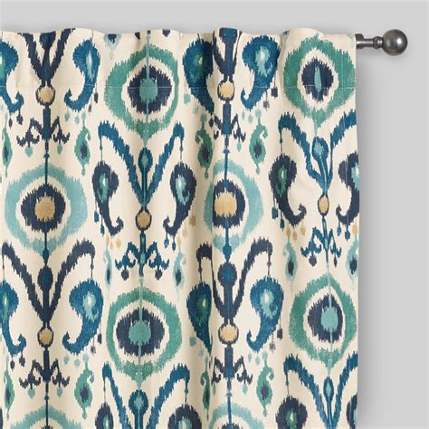 ikat draperies indigo ikat concealed tab top curtains set of 2 world market