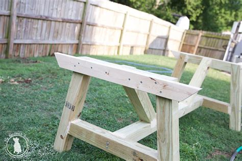 How To Build An Outdoor Farmhouse Table The Handmade Home Build Your Own Patio Table