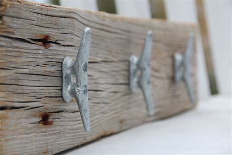 Nautical coat rack with boat cleats made from reclaimed wood