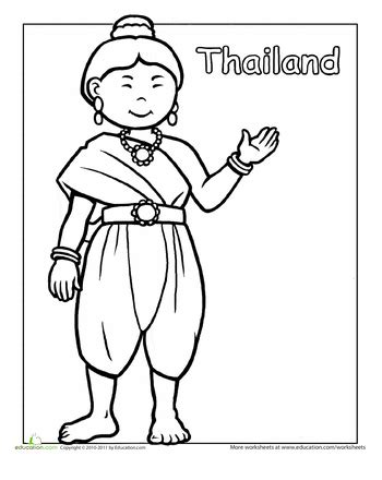 thai traditional dress coloring page multi cultural