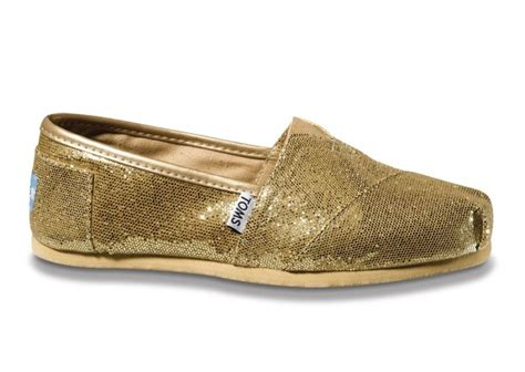 gold glitter toms if the shoe fits