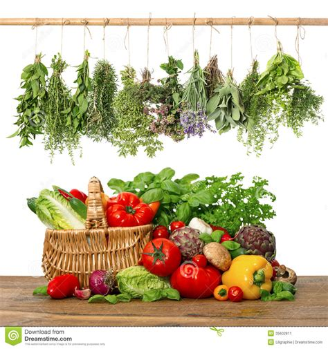 Vege Herbal fresh vegetables and herbs shopping basket kitchen interior stock image image 35602811