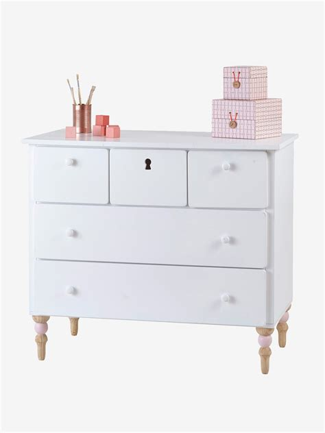 Commode 5 Tiroirs by Commode 5 Tiroirs Romantique Blanc Vertbaudet
