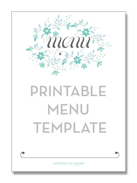 menu template free printable freebie friday printable menu smitten on paper