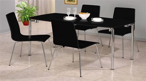 Black Gloss Dining Table And Chairs Small Black High Gloss Dining Set 4 Chairs Homegenies