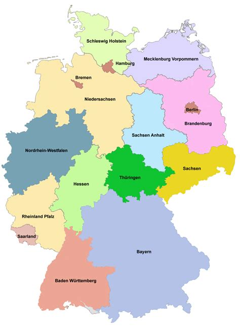 germany map states states of germany size