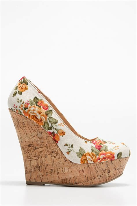 floral print cork wedges cicihot wedges shoes store