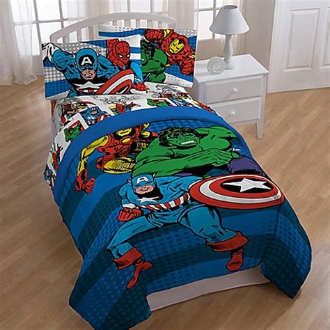 marvel toddler bedding marvel 174 comics quot good guys quot reversible comforter bed bath