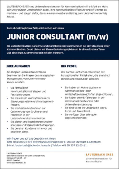 Lebenslauf Junior Consultant Stellenangebote Karriere Lautenbach Sass Unternehmensberater F 252 R Kommunikation