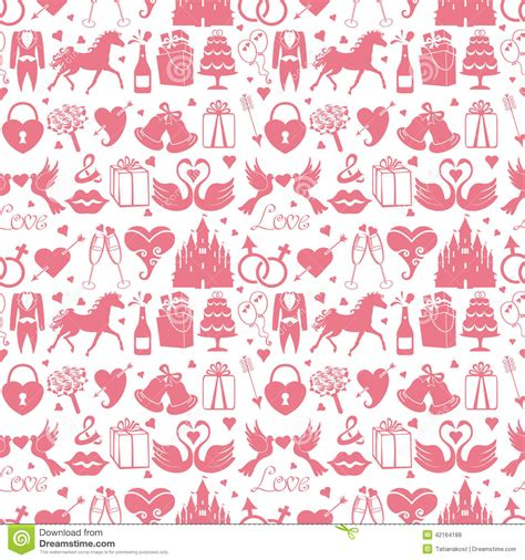 wedding design elements vector flat wedding design elements in seamless pattern stock