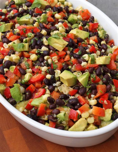 black bean salad with corn red peppers avocado lime
