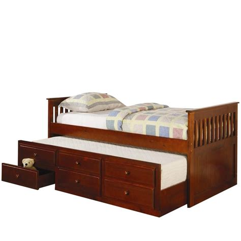 Daybed With Storage Drawers Coaster La Salle Daybed With Trundle And Storage Drawers In Cherry 300105