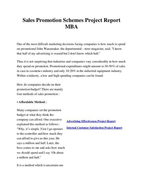 Mba Marketing Project Questionnaire by Sales Promotion Schemes Project Report Mba
