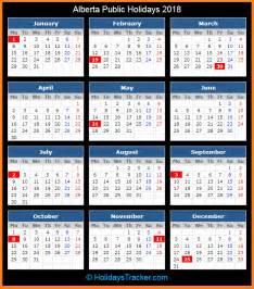2018 Calendar Alberta Alberta Canada Holidays 2018 Holidays Tracker