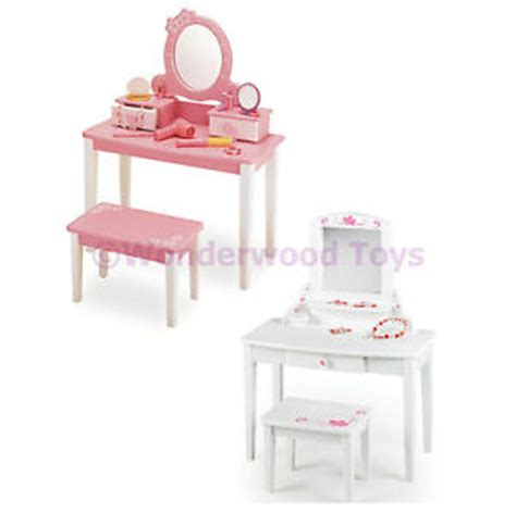 Childrens Vanity Unit wooden childrens dressing up vanity unit table stool pink white ages 3 ebay
