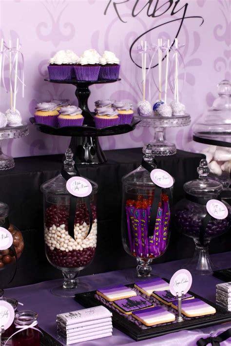 black and gold buffet ls purple black sophisticated tween birthday