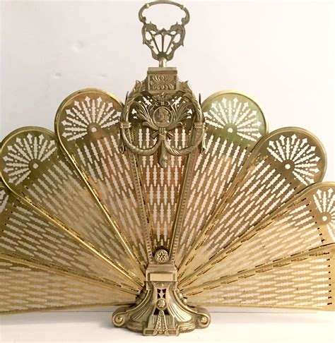 Brass Neoclassical Fan Style Carved And Filigree Fireplace Brass Fan Fireplace Screen
