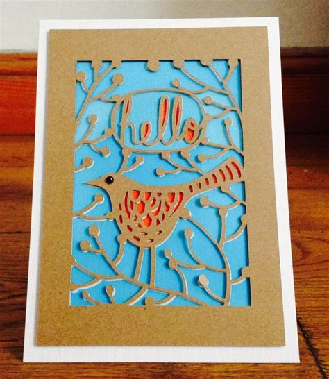 silhouette cameo card bird card made with kraft card and acetate made with my
