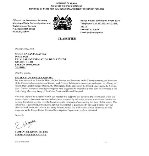 Proof Of Marriage Letter For Immigration two documents from kenya obama conspiracy theories