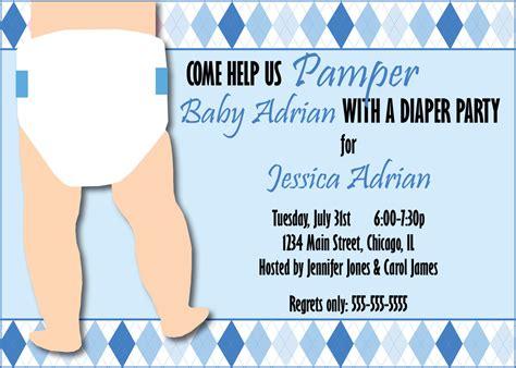 Baby Boy Shower Invite Wording by Custom Diaper Shower Invitation