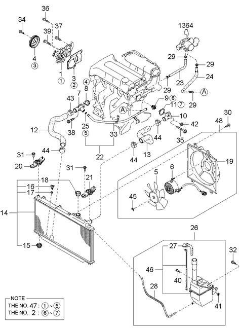Kia Spectra Parts 2004 Kia Spectra Cooling System 010522 Mpi Dohc 1 8l