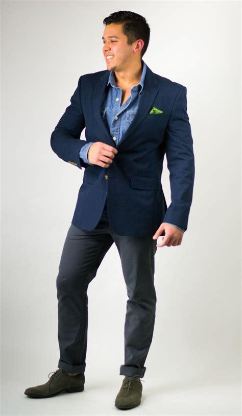 Blezer Denim look of the day denim shirt and navy blazer