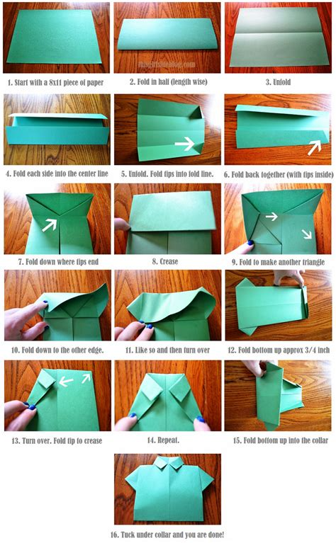 diy s day card origami shirt tie tutorial