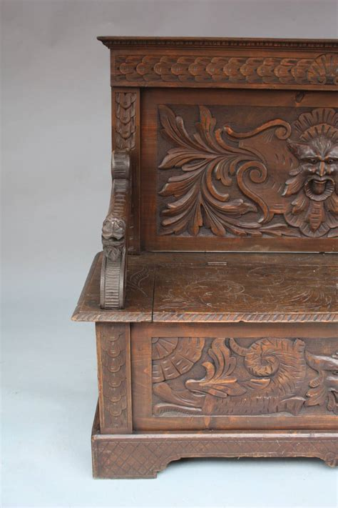 bench europe 19th century carved european bench with storage at 1stdibs