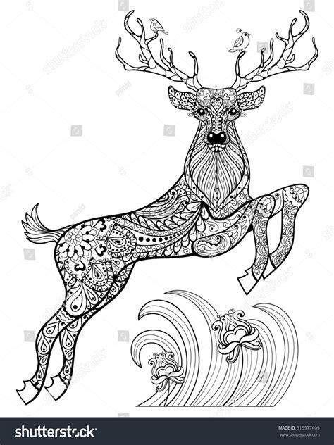 anti stress coloring book animals magic horned deer birds stock illustration