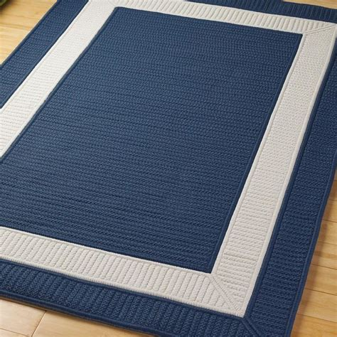 Navy And White Outdoor Rug Border Braided Indoor Outdoor Rug Available In 11 Colors Navy Blue Black Blue Apple