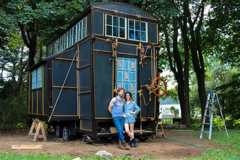 small house on wheels steunk steamer trunk a tiny house contraption on