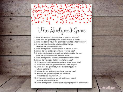 newlywed questions for bridal shower the newlywed printabell create